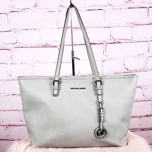 Michael Kors Light Gray Leather Tote